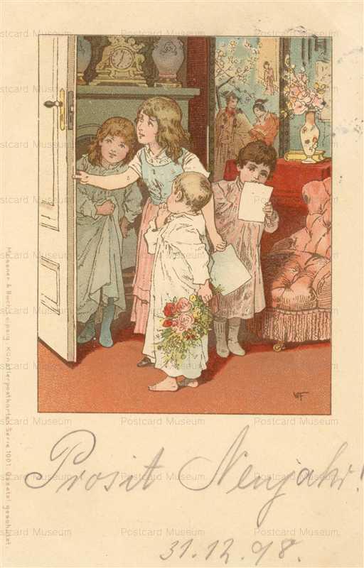 qb405-Meissner & Buch Children with Bouquet & Cards