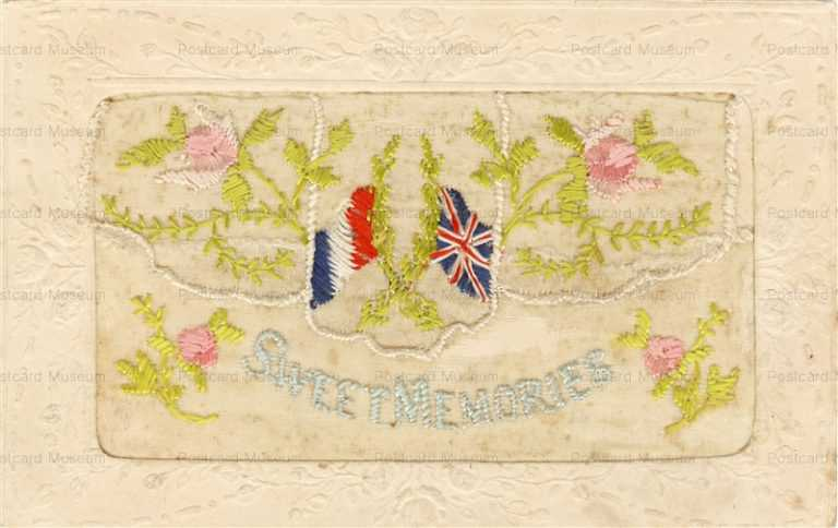 rm006-Hand Embroidery Rose and Flag