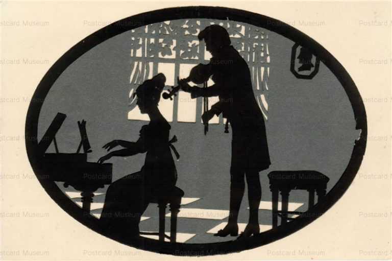 sib008-Die Cut Paper Silhouette Couple Plays Piano&Violin
