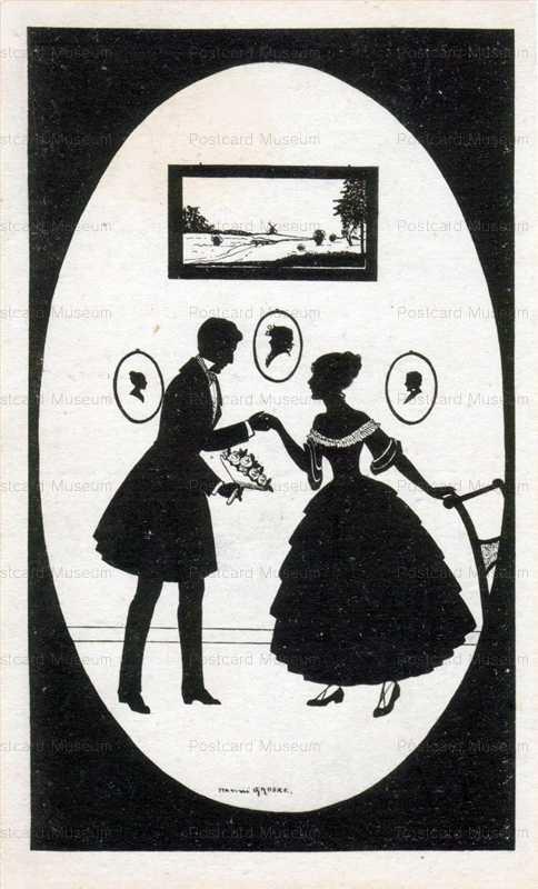 sib012-Man Brings Lady Flowers Silhouette