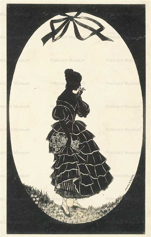 sib019-Lady Garden with Flowers Silhouette