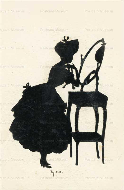 sib023-Bonnet Lady Look in Mirror Silhouette