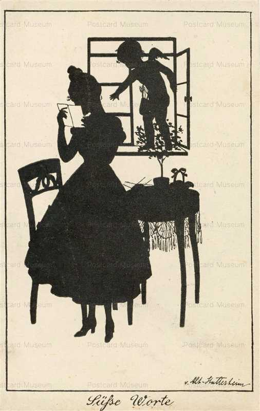 sib025-Reading Letter Lady Silhouette