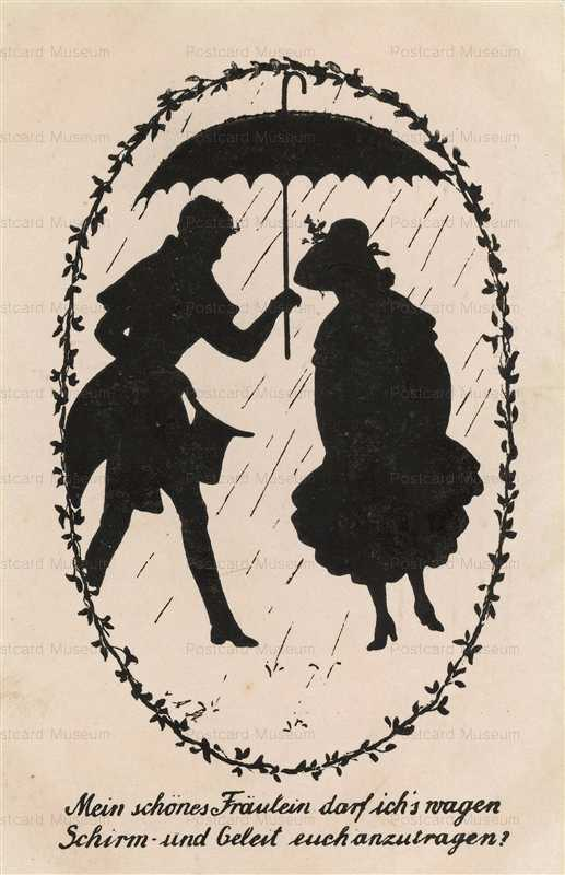 sib031-Romance Couple Umbrella in Rain Silhouette