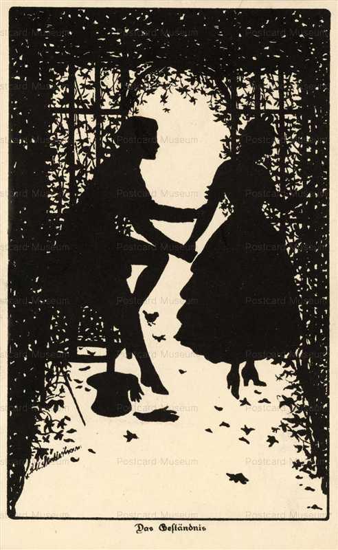 sib040-Lovers in Garden Silhouette