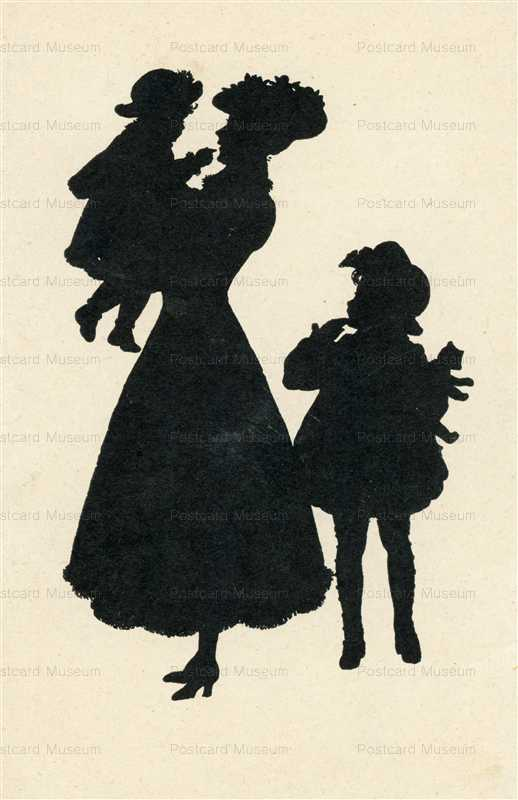 sib055-Mother with Children Silhouette