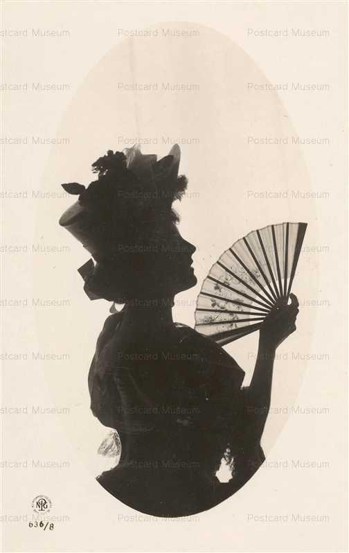 sib067-Edwardian Lady with Fan Silhouette