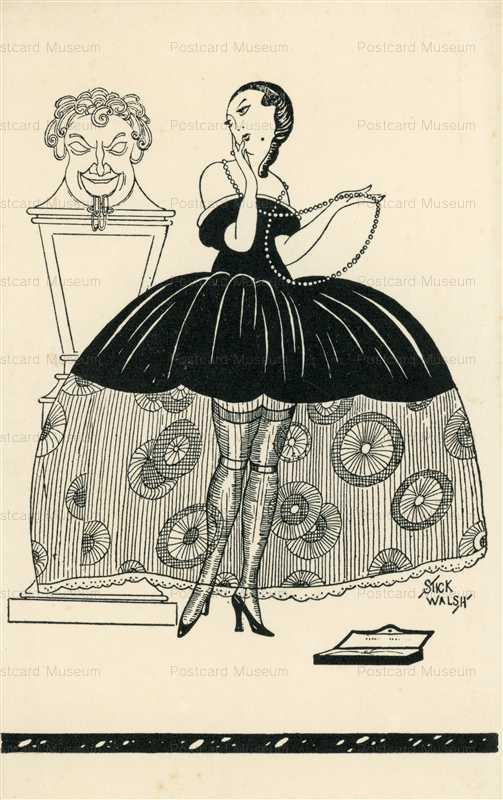 sib250-Stick Walsh Art Deco Sexy Woman