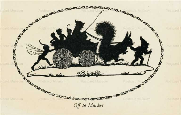 sib535-Margaret Tarrant Elfin Series Silhouette Off To Market