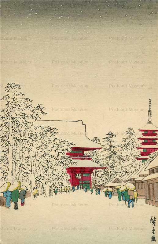 ug010-広重 浅草金龍山の雪景