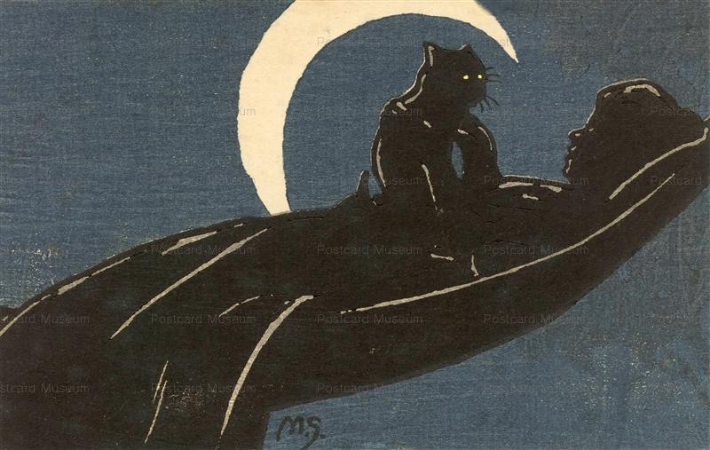 us018-7ハンモックと女と猫と月 M.S