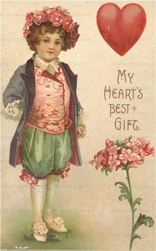 v050-Love Heart ArrowMy Heart's Best Gift Heart and Flowers