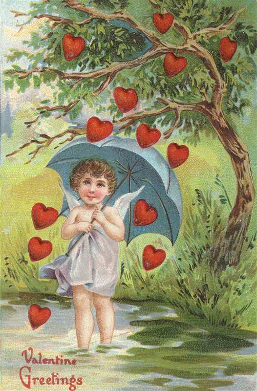v217-Hearts Raining on Cute Angel under Umbrella