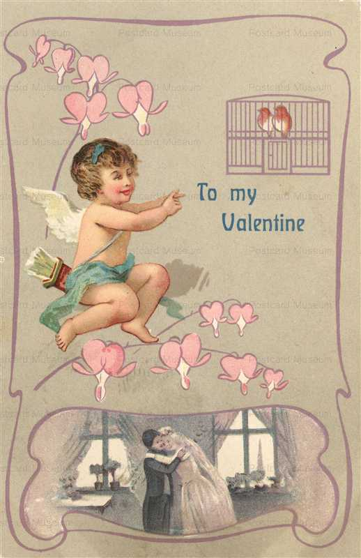 v237-Valentine Art Nouveau Romance Cupid Bird Cage