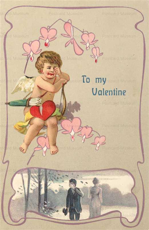 v238-Valentine Art Nouveau Romance Cry Cupid