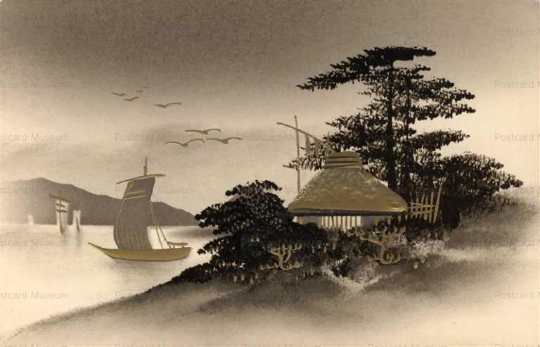 wk013-漆絵金彩 帆掛け舟