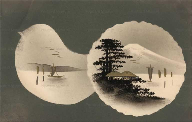 wk032-富士と湖 金黒漆絵