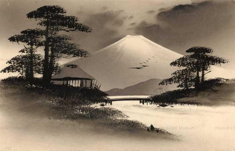 wk036-富士 黒漆絵