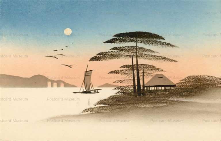 wk150-海辺 松 月