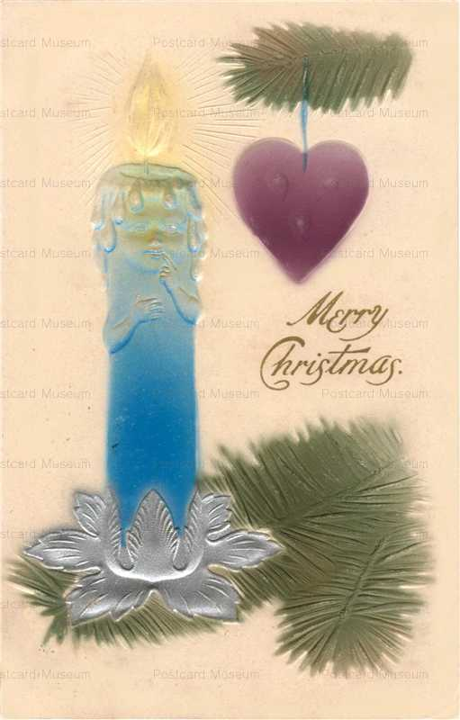 xm010-Merry Christmas Candle Heart