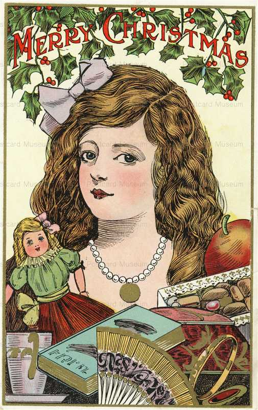 xm063-Merry Christmas Outstanding Victorian Girl with Doll and Toys
