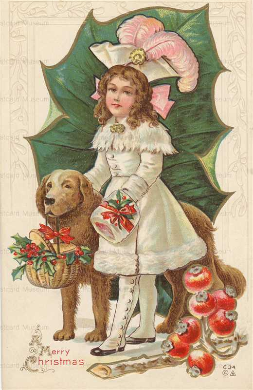 xm070-Merry Christmas Cute Girl with Dog
