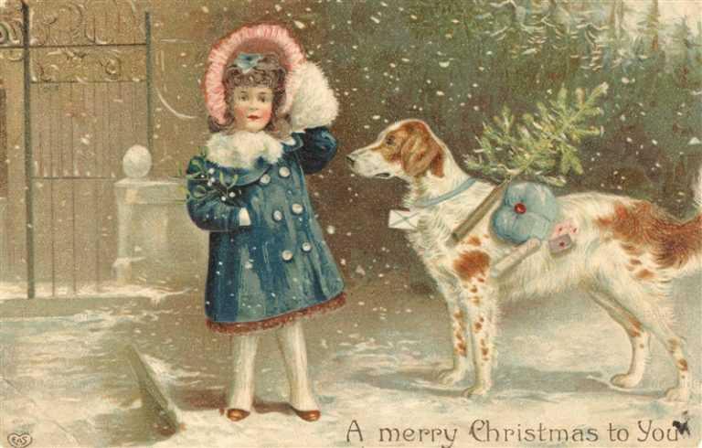 xm080-Merry Christmas Girl with Dog