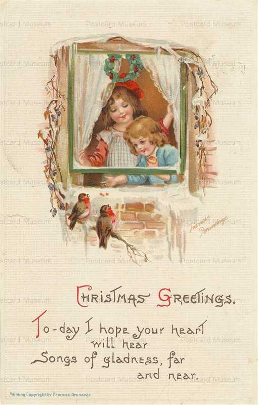xm083-Christmas Children Feeding Birds Rundage