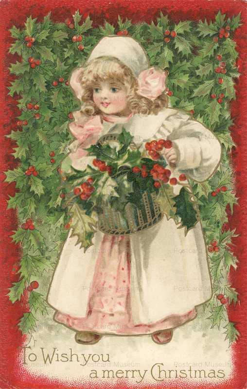 xm090-Christmas Girl Blue Hood Holly