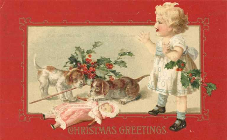 xm105-Christmas Little Girl Doll & Puppies