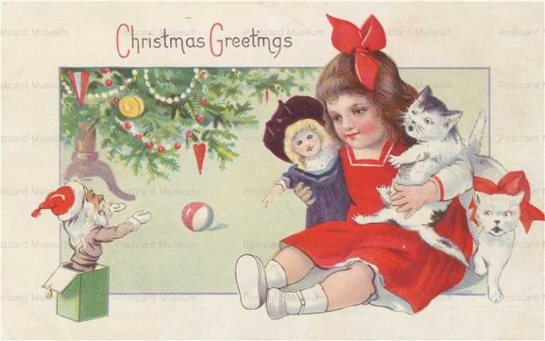 xm115-Girl with Doll Kittens Jack-in-the-Box Santa