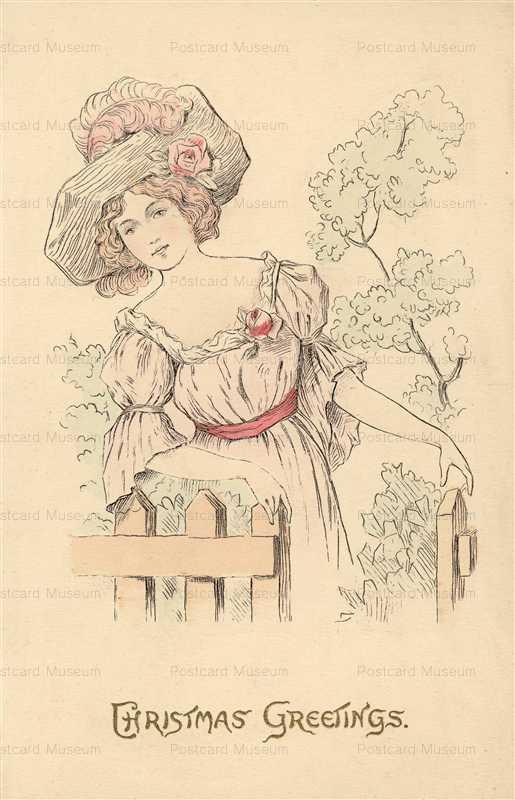 xm155-Christmas Greeting Beautiful Woman Big Bonnet