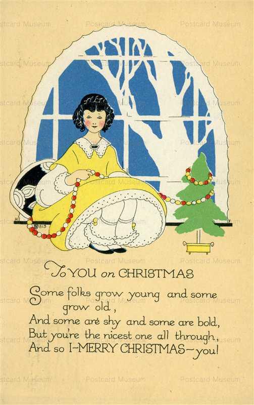 xm165-Merry Christmas Art Deco Girl Decorating Tree