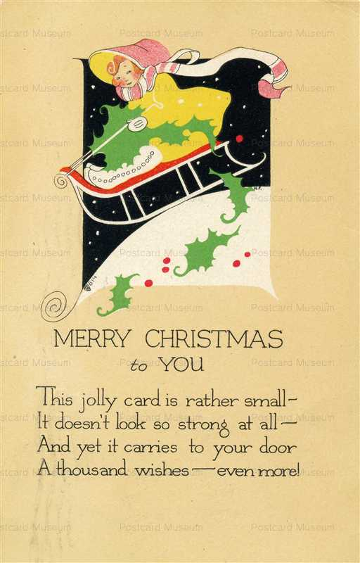 xm170-Merry Christmas Sled and Girl