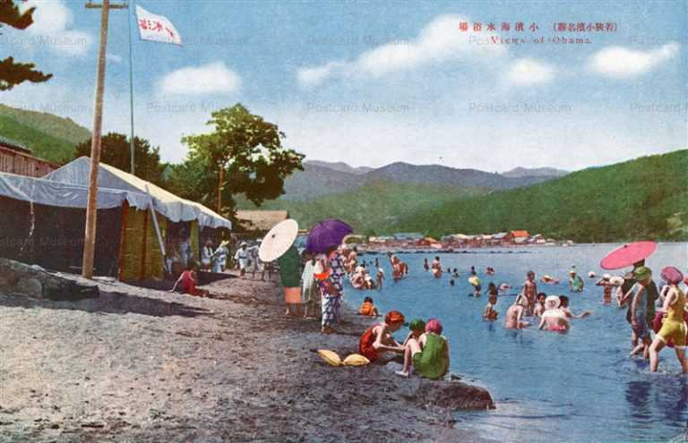 hf1662-View Obama Sea Bathing Wakasa 小濱海水浴場 若狭小浜名勝