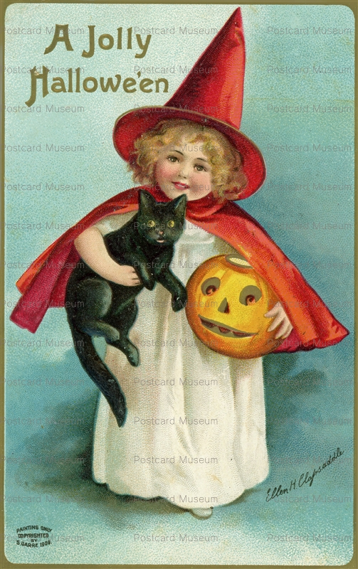 chr070-Halloween Greetings Girl Witch Black Cat Clapsaddle