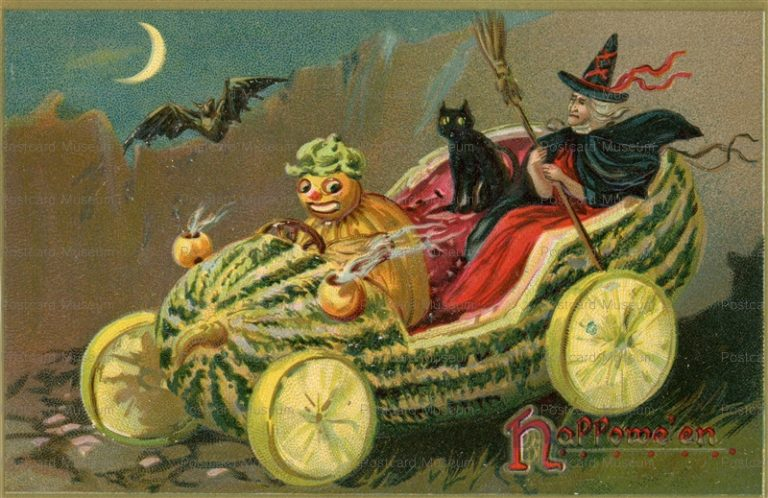 chr100-HALLOWEEN WITCH & BLACK CAT RIDING IN A WATERMELON CAR