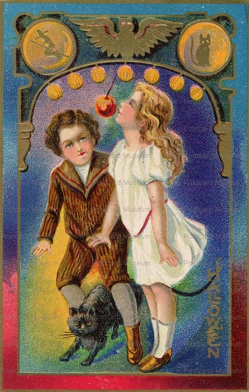 chr170-Halloween Boy Girl and Black Cat