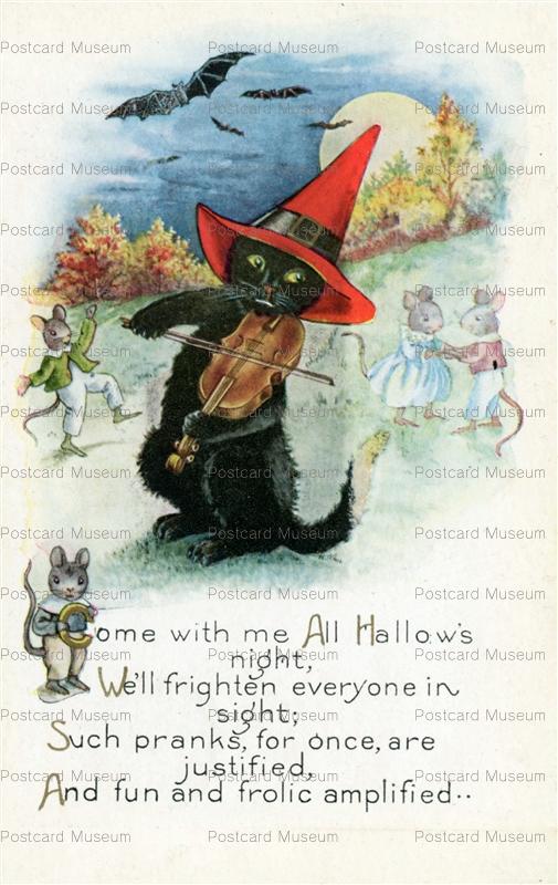 chr240-Halloween Whitney BLack Cat Violin Dancing Mice Bats Moon