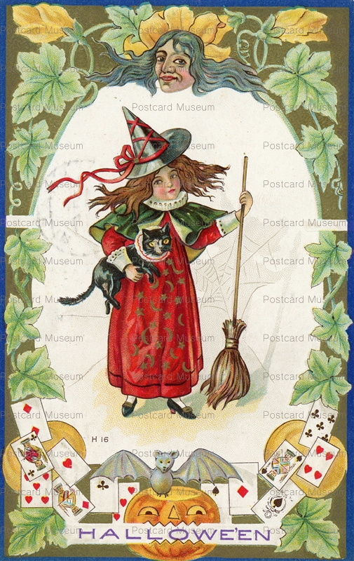 chr257-Halloween Girl In Witch Hat Holding Black Cat.Card Bat Broom