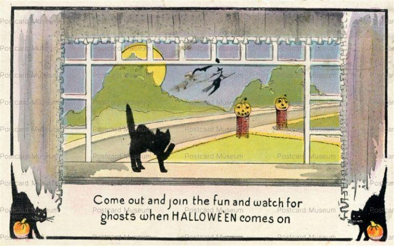 chr335-Halloween Black Cat Series 412 c1910