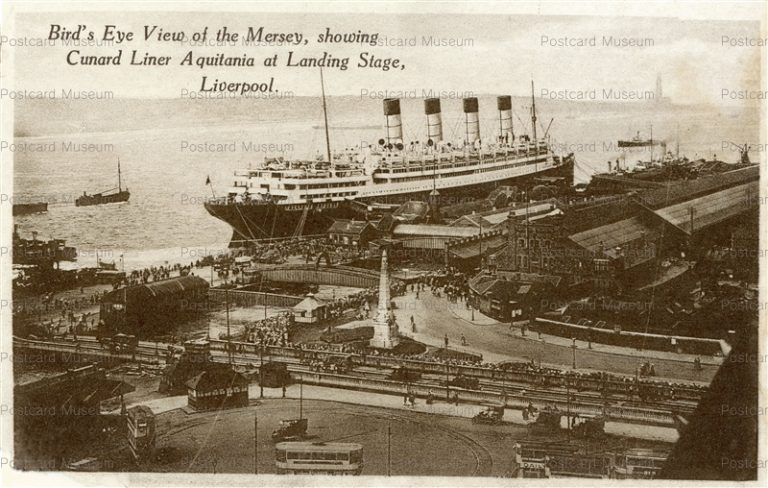 ge499-Bird's Eye View of the Mersey Showing Cunard Liner Aquitania Liverpool