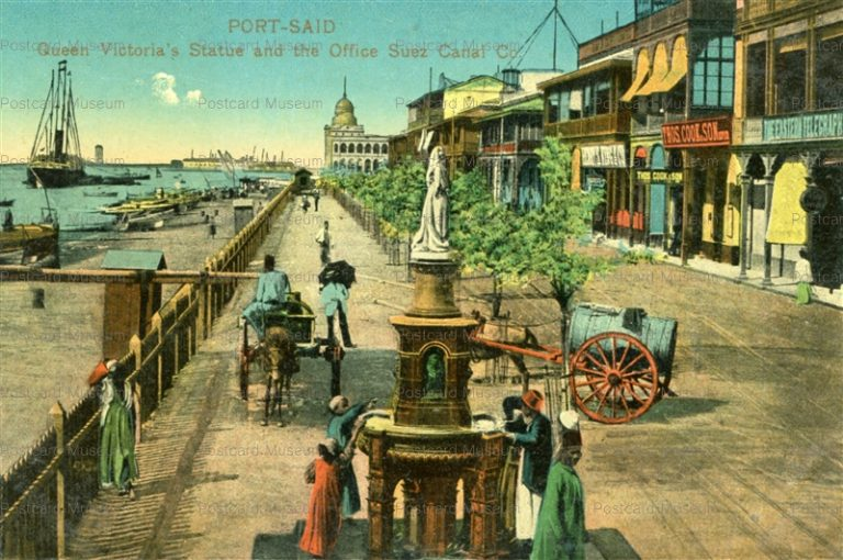 gp162-Port Said Queen Victoria's Statue and the Office Suez Canal Co