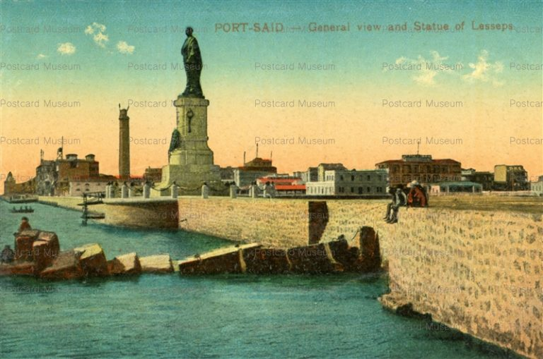 gp167-Port Said General view and Statue of Lesseps